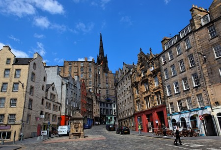 EDINBURGH – May 2010. Famous Victoria street in Grassmarket area. Rare sunny spring day. May 18 2010 in Edinburgh. Scotland. UK.