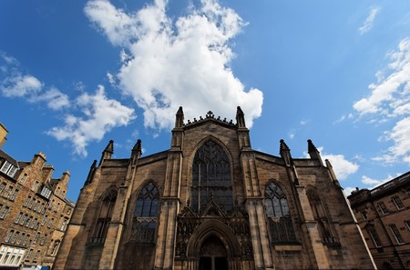 crown spire: Main facade of St Giles Cathedral. Edinburgh. Scotland. UK. Stock Photo