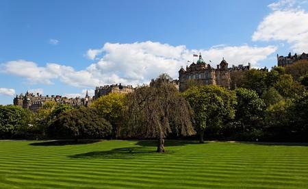 Striped lawn of Princess Gardens. Edinburgh. Scotland. UK. Stock Photo - 7554553