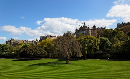 Striped lawn of Princess Gardens. Edinburgh. Scotland. UK. Stock Photo - 7554553