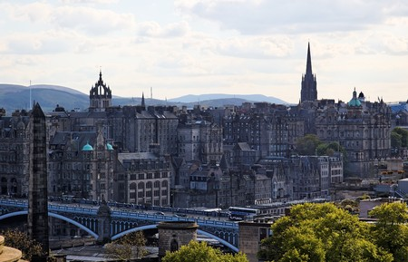 View from Calton Hill towards North Bridge and Old Town. Edinburgh. Scotland. UK. Stock Photo - 7554551