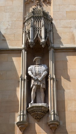 King Henry statue on the facade of Kings College. Cambridge. UK. Stock Photo