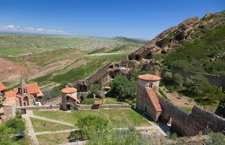 View from top to David Gareja cave monastery complex. Kakheti. Georgia.
