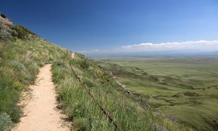The mountain path near David Gareja cave monastery. Kakheti. Georgia. photo