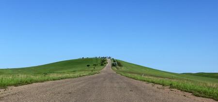 Meadows and country road near David Gareja cave monastery. Kakheti. Georgia. Stock Photo - 8209916