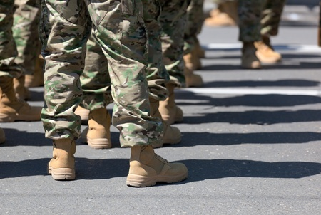 Legs of soldiers in military uniform and boots. Tbilisi. Georgia. Stock Photo