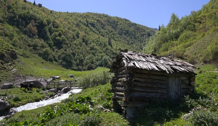swanetia: Abandoned mill near the village of Khe. Svaneti. Georgia.