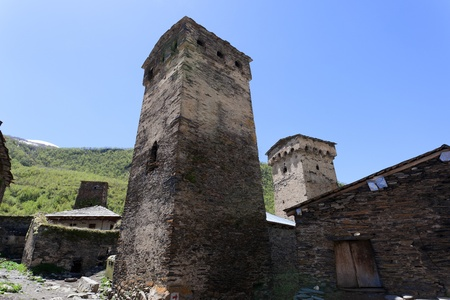 ushguli: Traditional svan Protective Towers in Ushguli Village. Svaneti. Georgia.