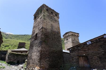 svan: Tradizionale svan protettivo torri nel villaggio di Ushguli. Svaneti. Georgia.