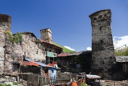 Traditional svan Protective Towers and houses in Ushguli Village. Svaneti. Georgia. Stock Photo - 9059798