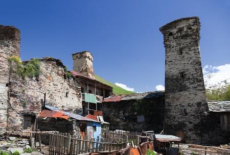 ushguli: Traditional svan Protective Towers and houses in Ushguli Village. Svaneti. Georgia.