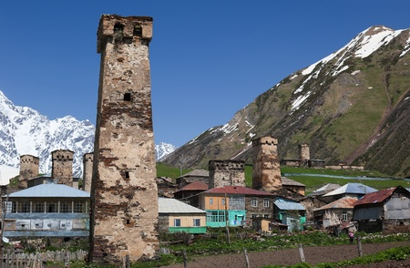 archtecture: Traditional svan Protective Towers and houses in Ushguli Village. Svaneti. Georgia.