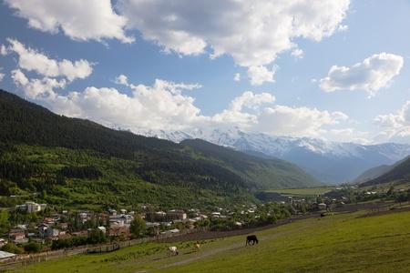 mestia: Mestia Valley. Upper Svaneti. Georgia. Stock Photo