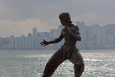 Hong Kong - October 01, 2010: Bruce Lee statue on the Avenue of Stars. Tsim Sha Tsui, Hong Kong.