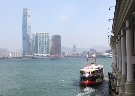 The Historic Star Ferry leaving pier in Central. Hong Kong