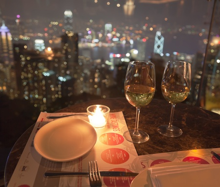 View from restaurant on The Peak at night. Hong Kong.
