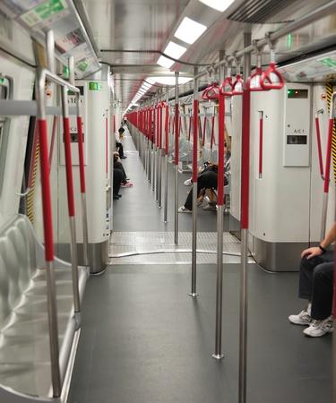 Interior of Subway (Mass Transit Railway) train. Hong Kong.