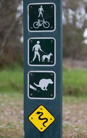 melbourne australia: Sign on park regulations, restriction and warnings. Melbourne. Australia.