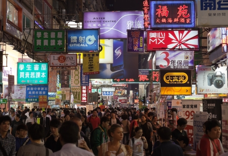 Busy Temple street market at Night  Hong Kong