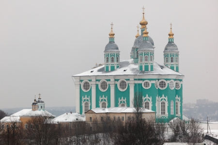 View to Assumption  Uspensky  cathedral from Kremlin  Smolenk  Russia Stock Photo - 14856708