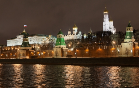 Moscow Kremlin and the Moskva River at night  Moscow  Russia photo