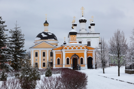 Orthodox monastery Davidova Pustin and Assumption church of the Blessed Virgin Mary in winter  Chekhov  Moscow region  Russia