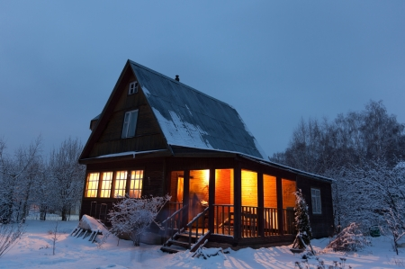 warm weather: Country house  dacha  in winter dawn  Moscow region  Russia