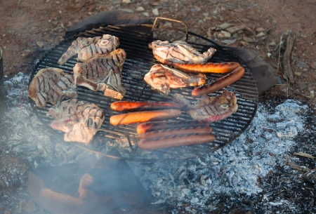 chargrill: Barbecued meat and sausages  Bush Camping  Flinders Ranges  South Australia