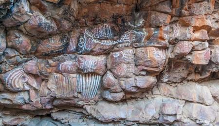 aborigen: Malkawi sitio pintura aborigen Flinders Ranges Australia del Sur Foto de archivo
