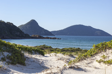 nsw: Landscape with sand dunes ocean islands and hills  Fingal Bay  Port Stephens  Australia