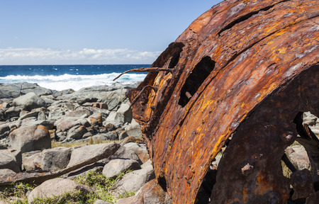 rusting: Rusting boiler from the shipwreck of the SS Monaro  Eurobodalla national park  NSW  Australia