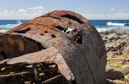 ss: Rusting boiler from the shipwreck of the SS Monaro  Eurobodalla national park  NSW  Australia