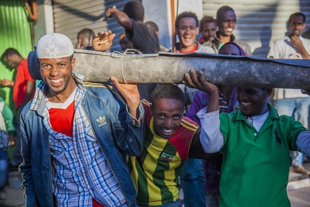 ababa: Merkato market workers  Addis Ababa  Ethiopia  Editorial