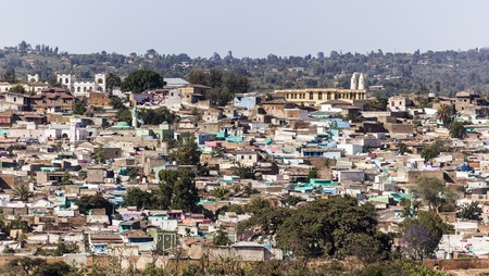 Bird eye view of ancient walled city of Jugol  Harar  Ethiopia