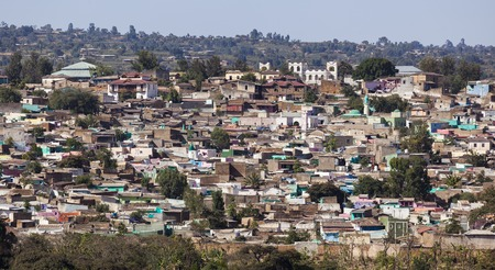 Bird eye view of ancient walled city of Jugol  Harar  Ethiopia  photo