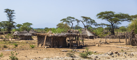 dwelling: Traditional tsemay houses. Small village in tsemay territory near Weita. Omo Valley. Ethiopia Editorial