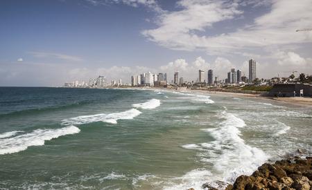 yaffo: TEL AVIV, ISRAEL - OCTOBER 19, 2014: Skyline, beaches and Mediterranean Sea surf of southern Tel Aviv.