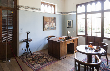 jewish home: TEL AVIV, ISRAEL - OCTOBER 20, 2014: Study room on the second floor in Bet Bialik House museum.