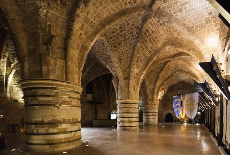 acre: Underground Citadel and prison. Akko Acre. Israel. Editorial