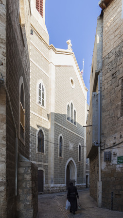 crusade: Streets of ancient city of Akko in the morning. Israel Stock Photo