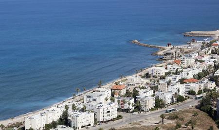 bird of israel: Bird eye view from Mount Carmel towards Bat Galim promenade. Galshanim beach. Haifa. Israel.