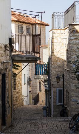 jewish home: Narrow city street. Tzfat Safed. Israel.