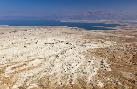 masada: View of Judaean Desert and Dead See from Masada fortress. Israel