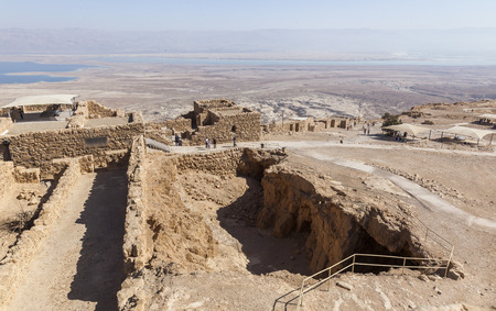 masada: ISRAEL, MASADA - OCTOBER 27, 2014: Famous ruins of ancient Masada fortress - one of the most visited places in country