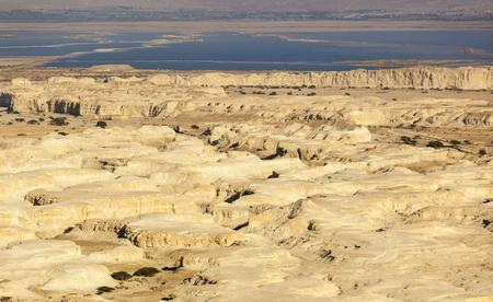 judean hills: Landscape in Judean desert with Dead Sea on background. Israel.