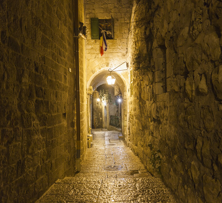 Old town streets at night. Jerusalem, Israel. Banco de Imagens