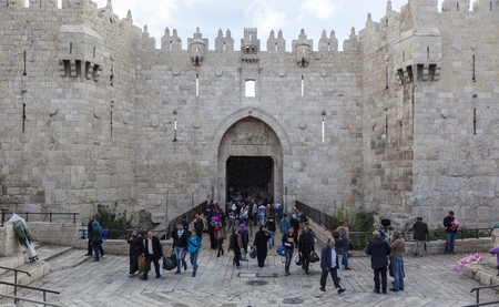 JERUSALEM OLD TOWN, ISRAEL - NOVEMBER 1, 2014: Unidentified people in front of Damascus gate, the entrance to Muslim quarter. Editorial