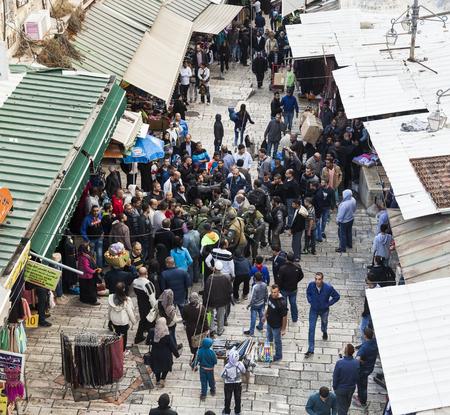 middle east conflict: JERUSALEM OLD TOWN, ISRAEL - NOVEMBER 1, 2014: Unidentified Israeli soldiers apprehend terrorist near Damascus gate.