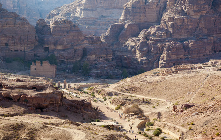 PETRA, JORDAN - OCTOBER 28, 2014: Top View of Petra Valley from the platform in front of the Urn Tomb.