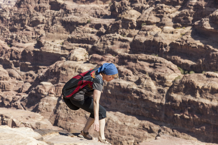 Women hiker. High Place of Sacrifice. Petra. Jordan.